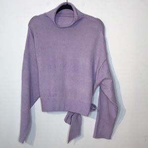 Mock neck wool blend sweater tie at the back